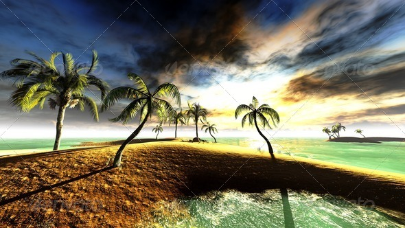 Hawaiian sunset in tropical paradise - Stock Photo - Images
