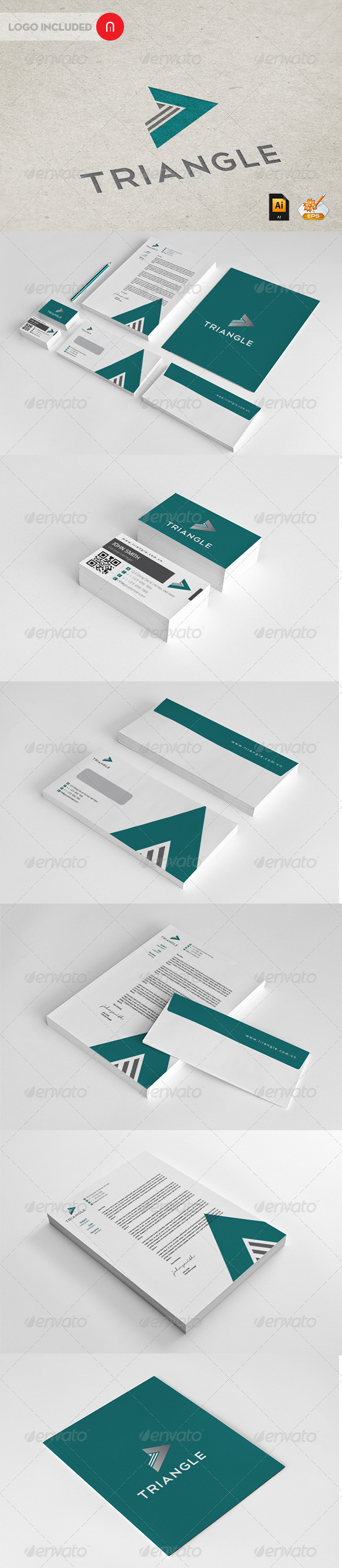 Triangle Corporate Identity - Stationery Print Templates