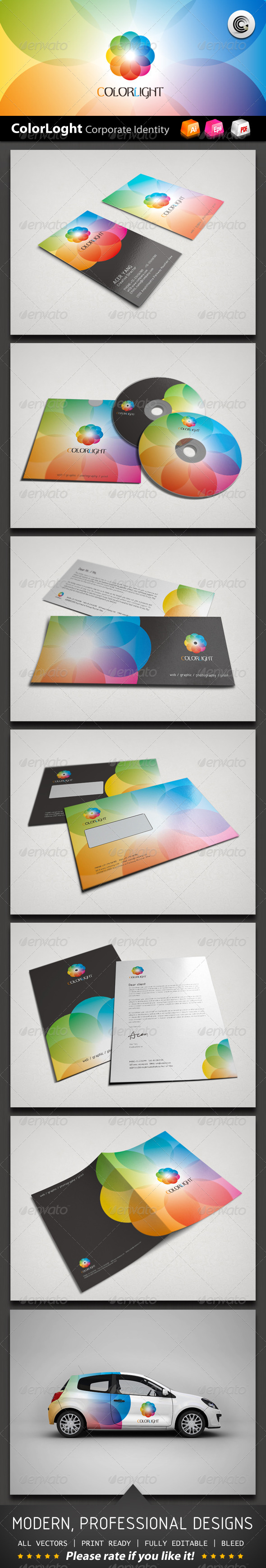 Color Light Corporate Identity - Stationery Print Templates