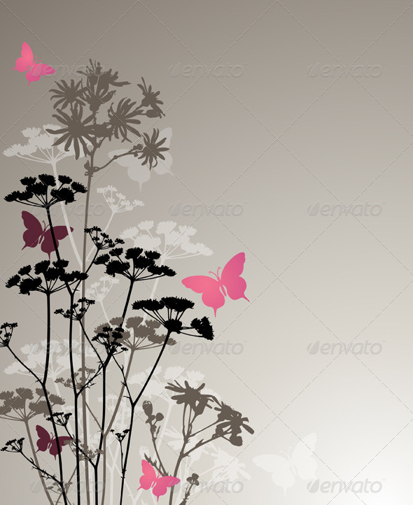 Floral Background with Night Flowers