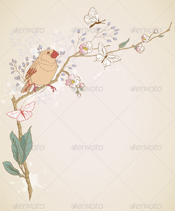 Bird and Branch - Flowers & Plants Nature