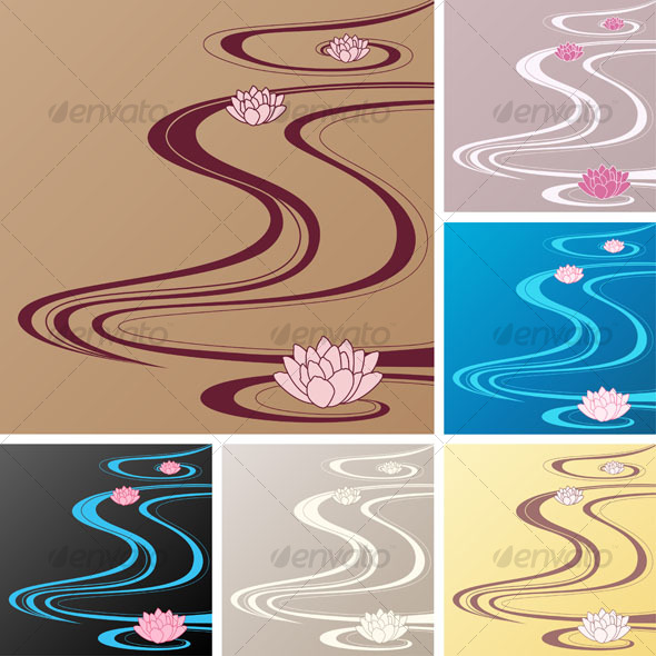 GraphicRiver Asian backgrounds with oriental waves and lotuses 100064