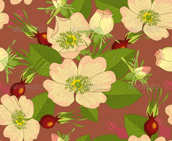 Stock Vector GraphicRiver Seamless Background Wild Rose Rose hip
