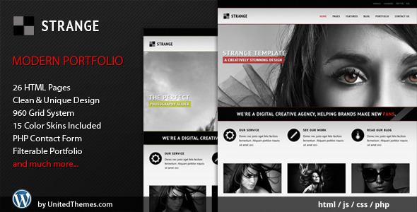 ThemeForest Strange Modern Portfolio HTML Template 410933