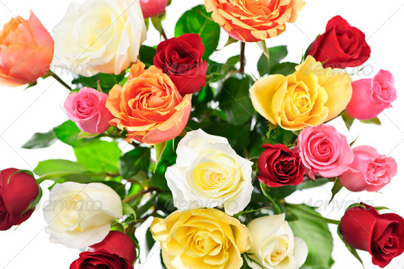 Bouquet Of Roses From Above - Stock Photo - Images