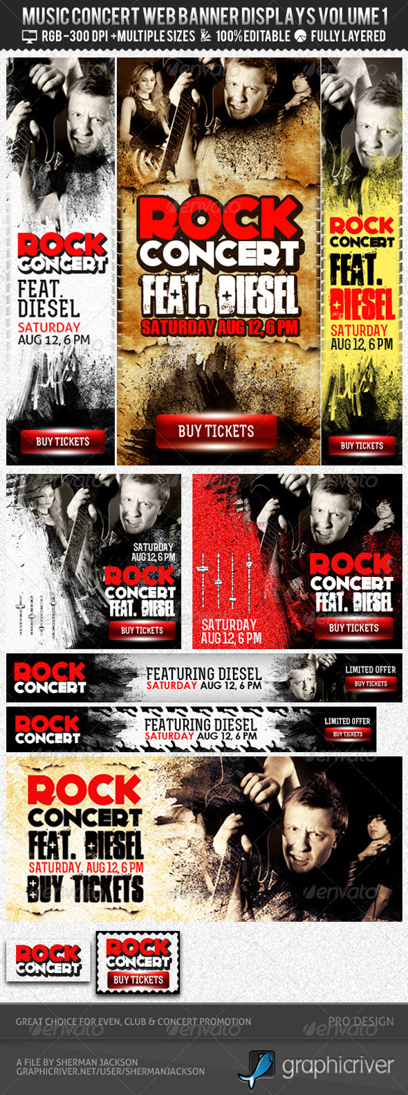 GraphicRiver Concert & Event Web Banners & AD Kit PSD 2765552