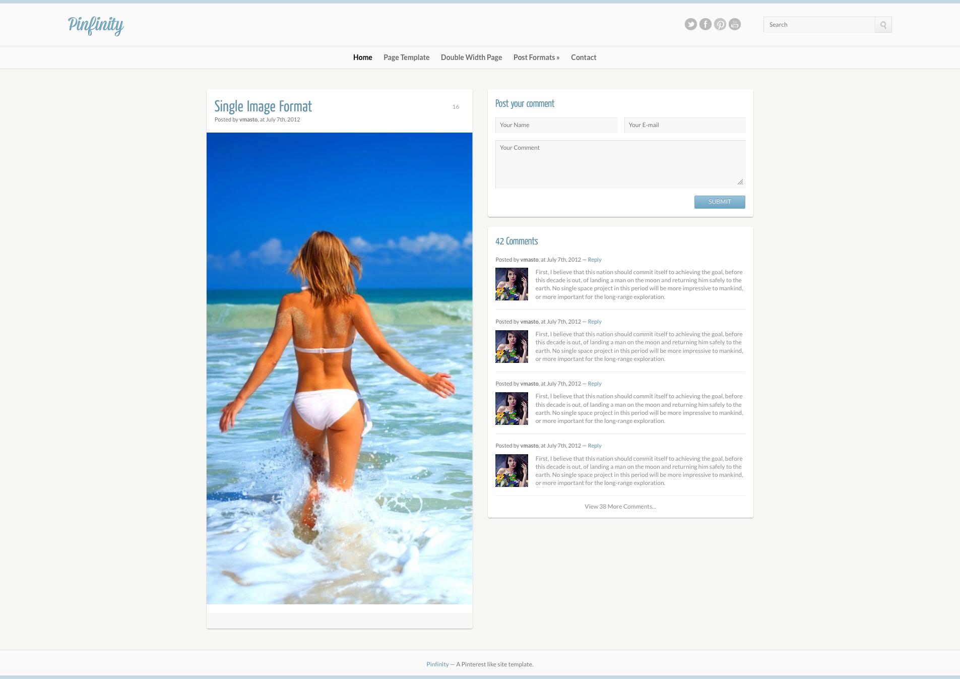Pinfinity Responsive Tumblr-Like Site Template
