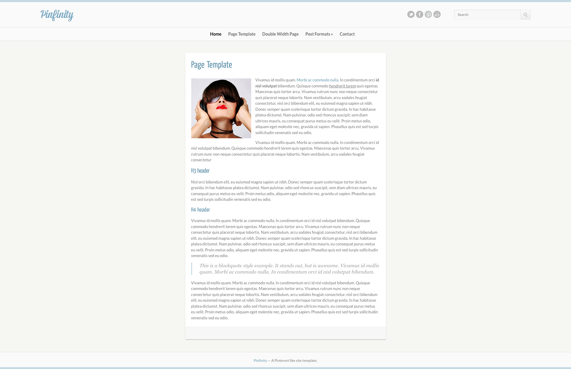 Pinfinity Responsive Tumblr-Like Site Template