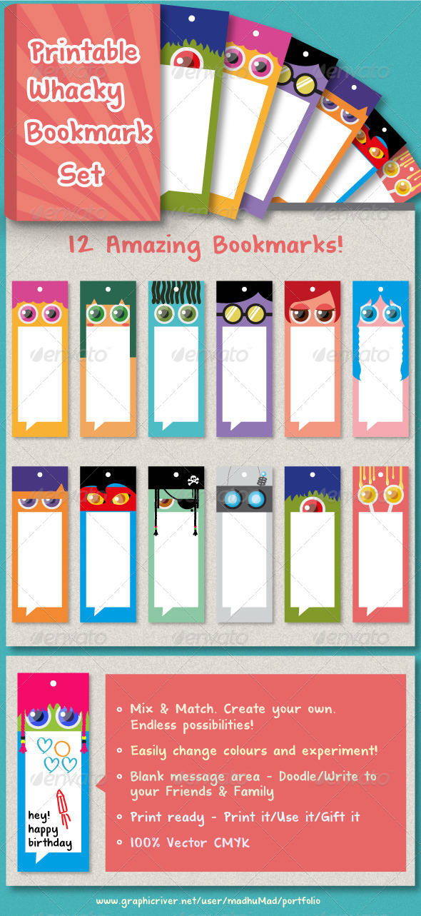 12 Whacky Bookmark Set  - Miscellaneous Print Templates