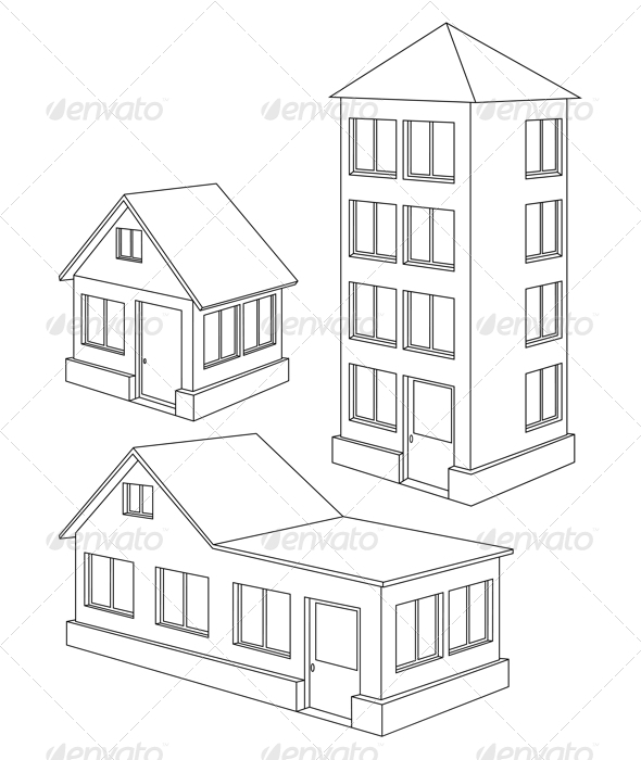 Apartment house contour. - Buildings Objects