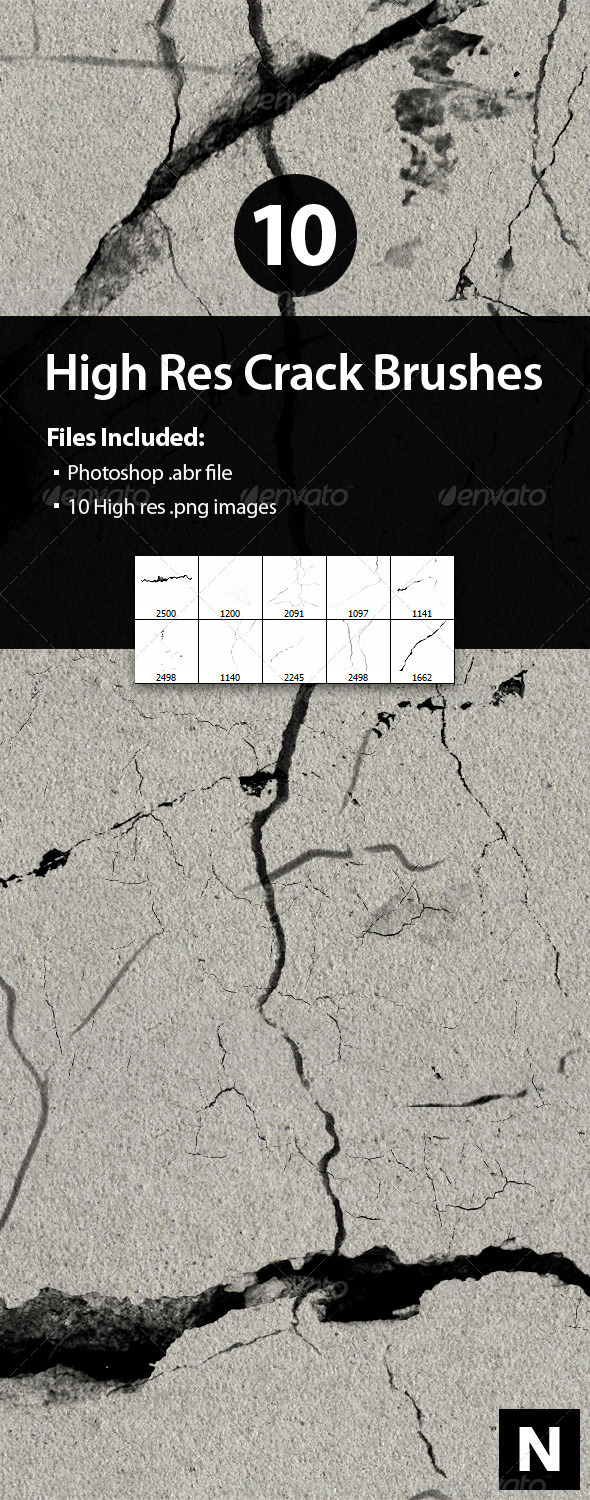 GraphicRiver 10 High Res Crack Brushes for Photoshop 2686727