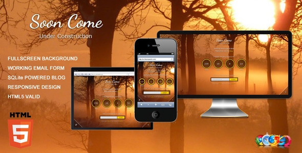 ThemeForest Soon Come Under Construction page with Blog 2671924