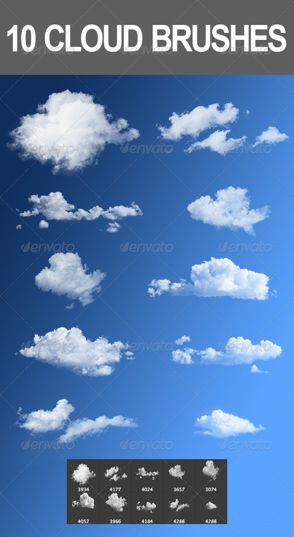 GraphicRiver 10 Cloud Brushes 2779812