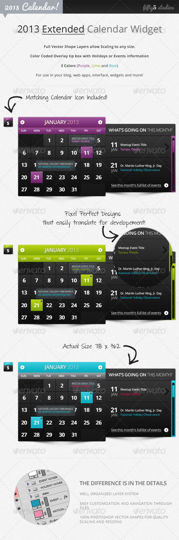 GraphicRiver 2013 Extended Calendar Widget v2.0 2779839