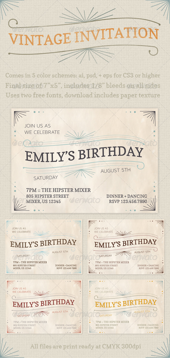 GraphicRiver Vintage Invitations 2779962