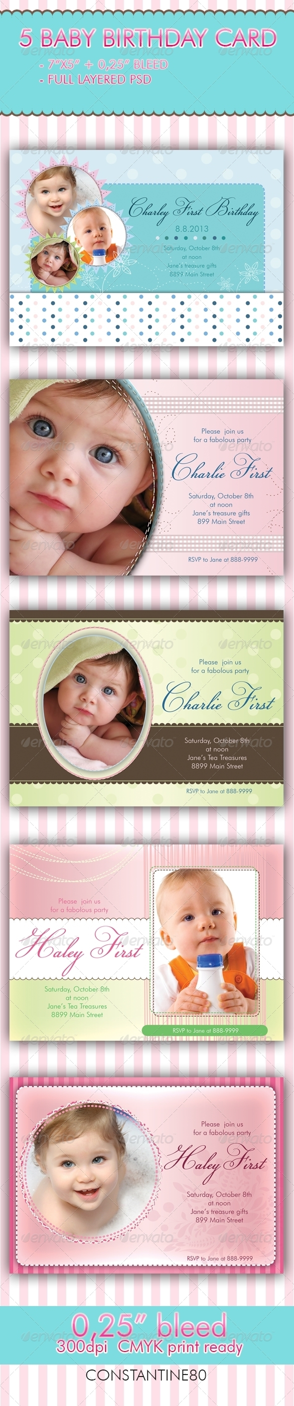 5 Baby Birthday Card - Invitations Cards & Invites