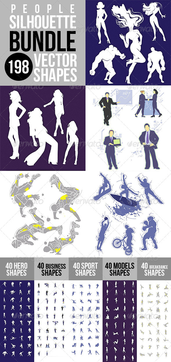 People Silhouette Shapes Bundle - People Characters