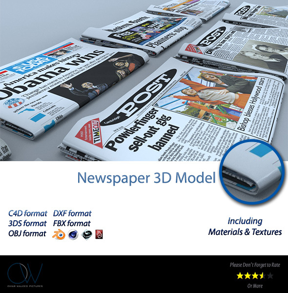 3DOcean Newspaper 3D Model 2781006