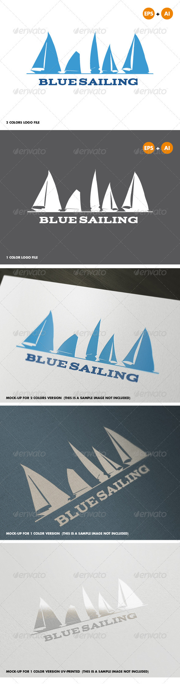 Blue Sailing Logo Template