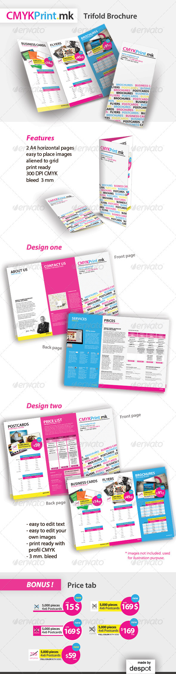 CMYK Print Trifold Brochure - Brochures Print Templates