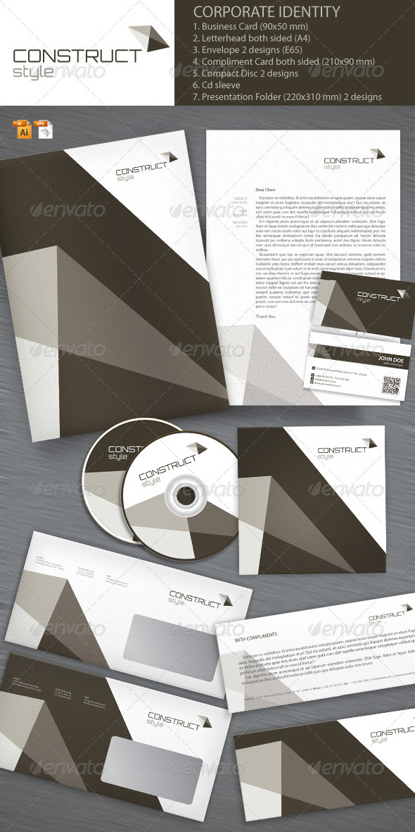 Construct Style Corporate Identity - Stationery Print Templates