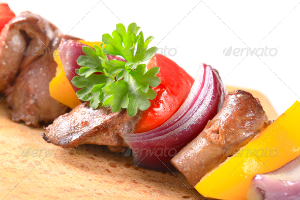 Chicken liver and vegetable skewer - Stock Photo - Images