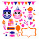 Owl birthday party design elements - GraphicRiver Item for Sale