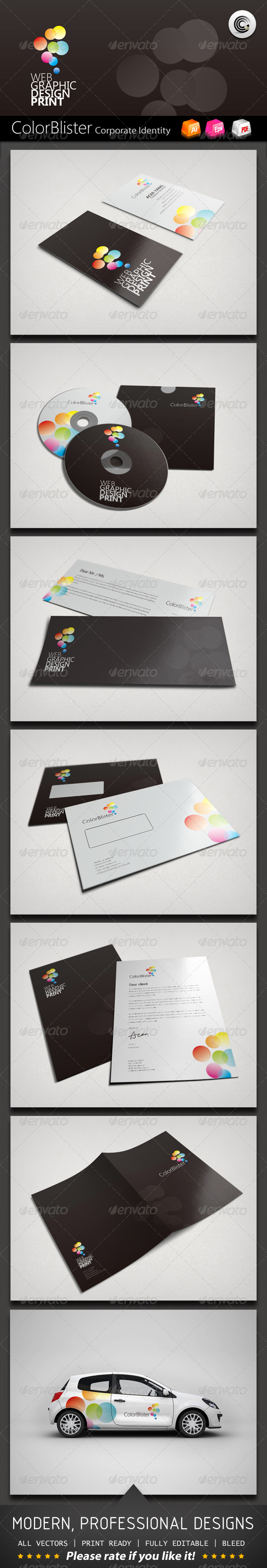 Color Blister Corporate Identity - Stationery Print Templates