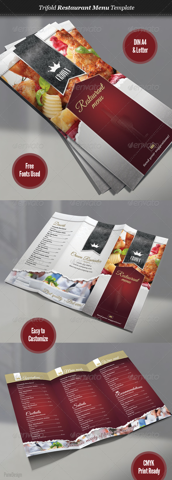GraphicRiver Trifold Restaurant Menu Template 2784757