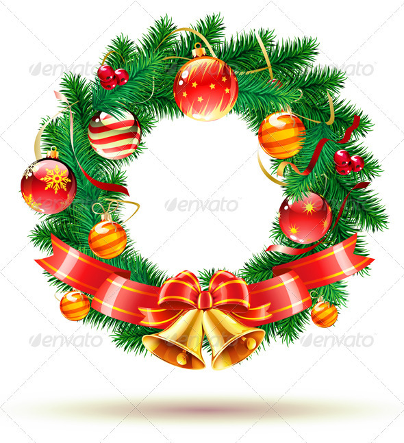 Green Christmas  wreath  - Christmas Seasons/Holidays