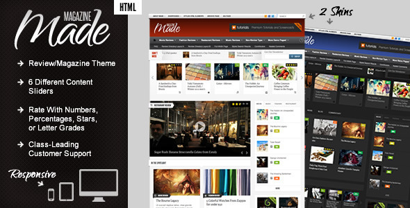 ThemeForest Made Responsive Review Magazine Site Template 2785274