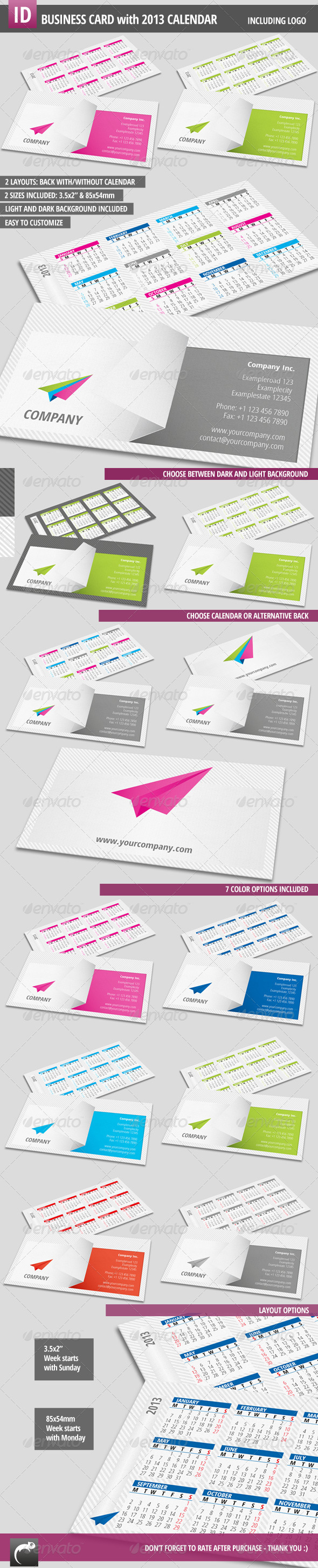 GraphicRiver Modern Business Card with Calendar 2013 2785877