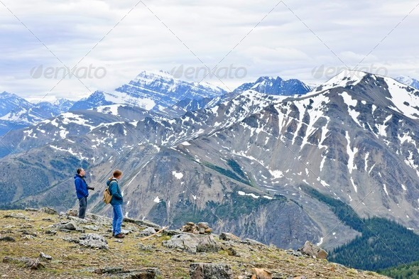 Hikers In Mountains - Stock Photo - Images