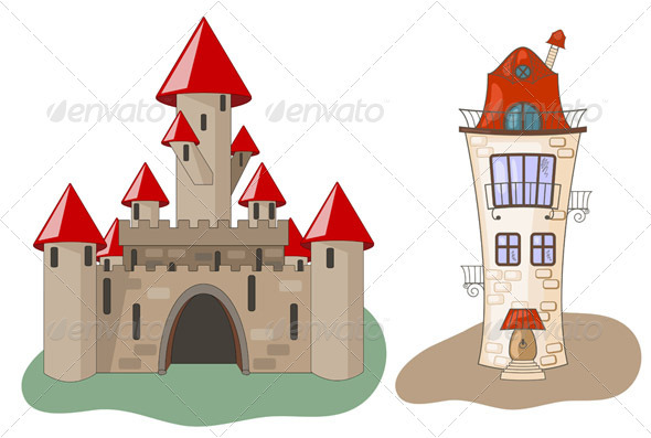 Medieval Castle and House - Buildings Objects
