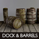 Wood Dock Segment & Barrels - 3DOcean Item for Sale