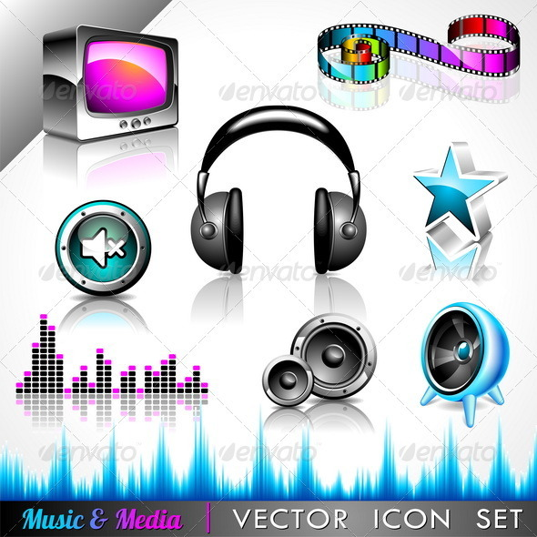 GraphicRiver Vector icon collection on a music