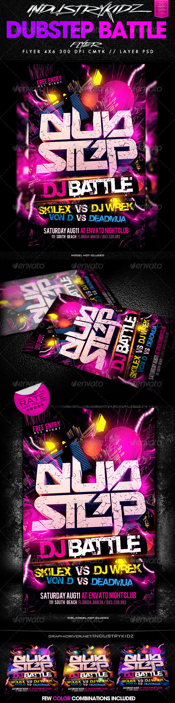 Dubstep Dj Battle Flyer Template - Clubs & Parties Events
