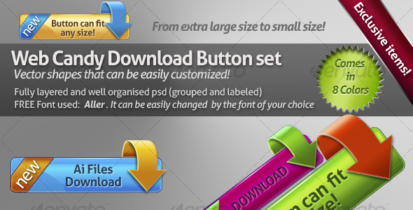 GraphicRiver Web candy download button set 100493