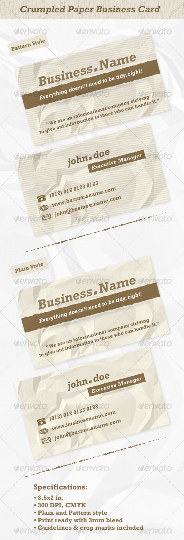 Crumpled Paper Business Card