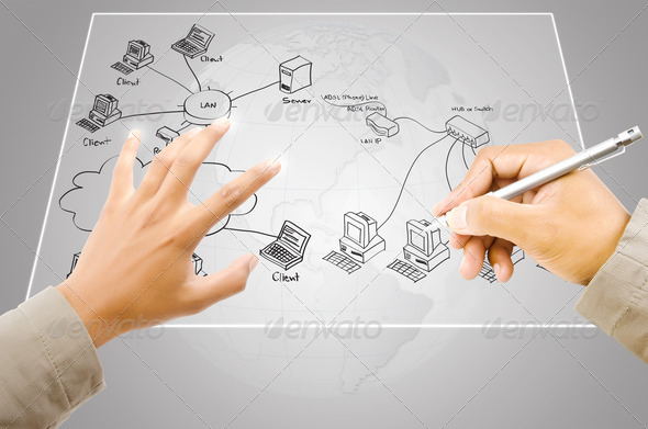 Hand drawing LAN diagram on touchscreen interface. - Stock Photo - Images