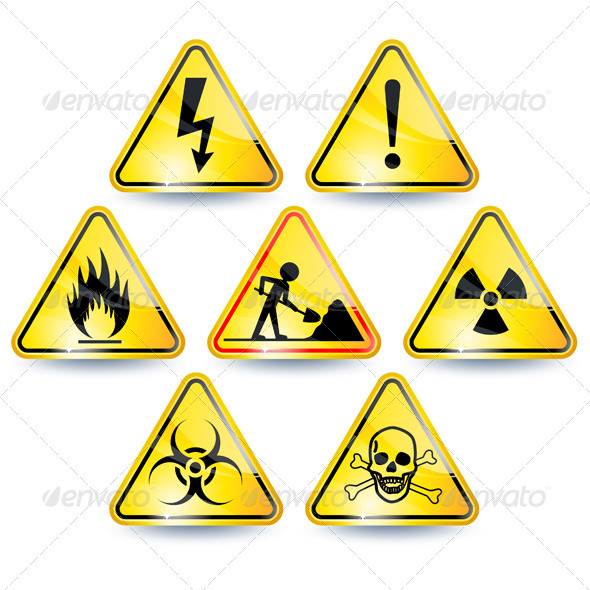 Set of warning signs - Web Elements Vectors