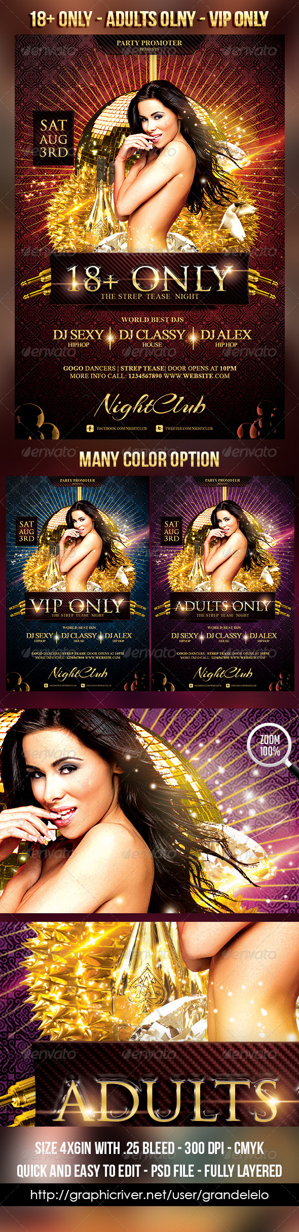 18+ Only Flyer Template - Clubs & Parties Events