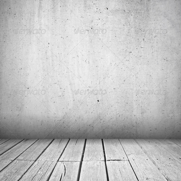 Concrete wall and wooden planks - Stock Photo - Images