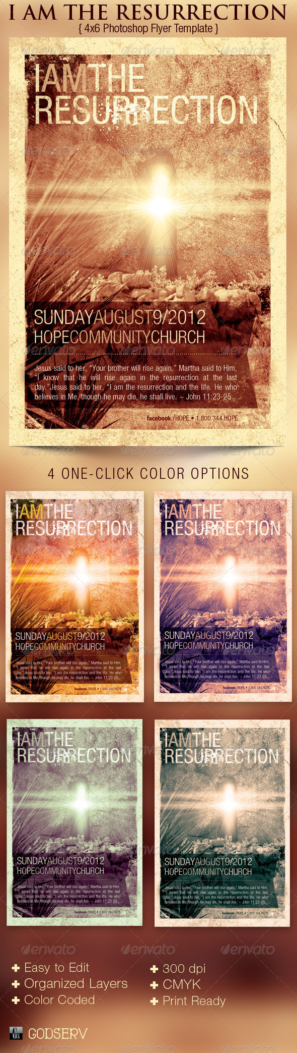 GraphicRiver I Am The Resurrection Church Flyer Template 2793084