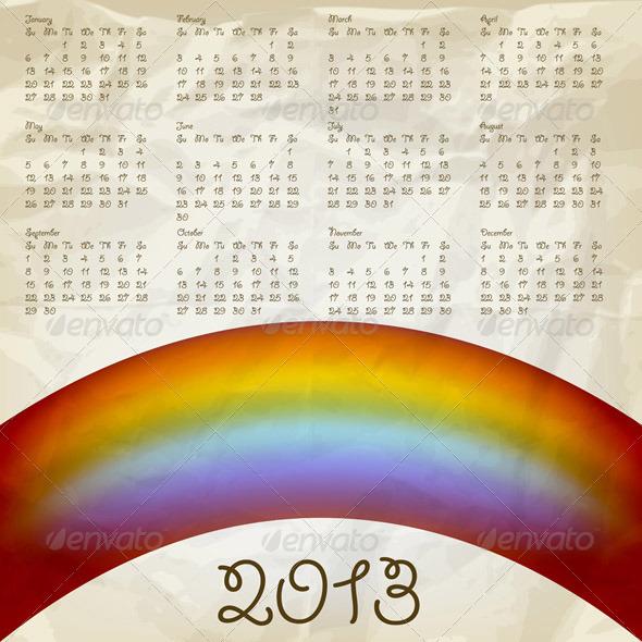 2013 Calendar with Rainbow