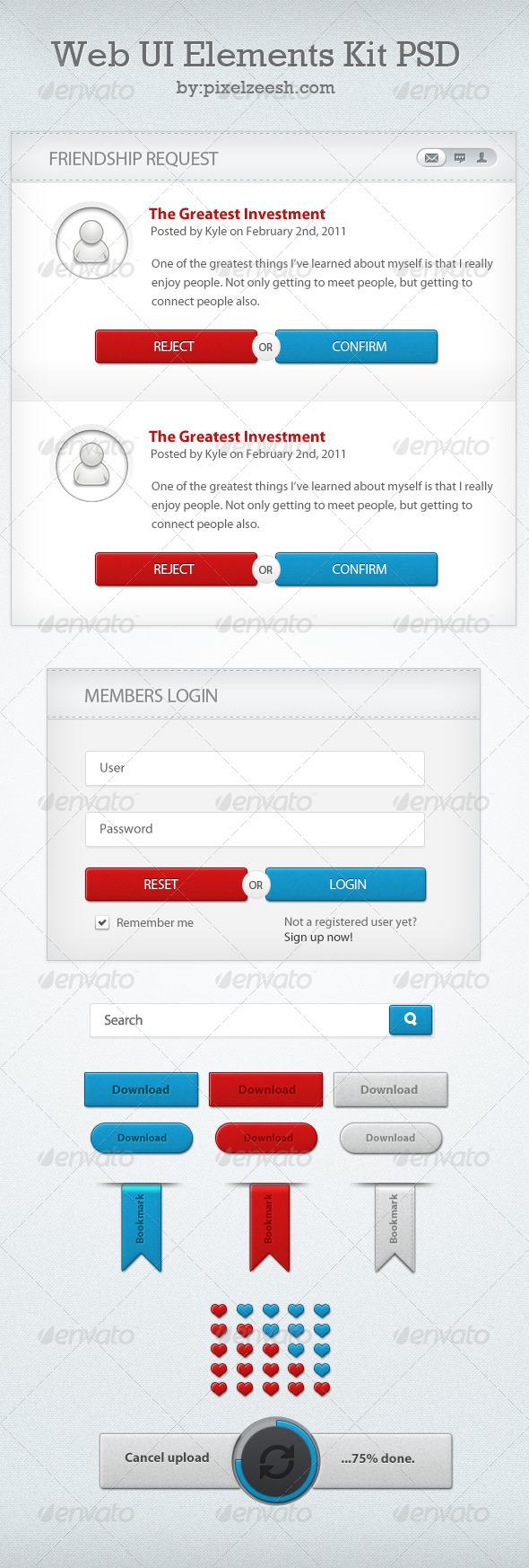 Web UI Elements Kit PSD  - User Interfaces Web Elements