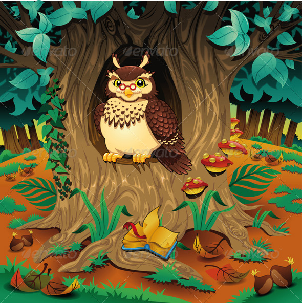Scene with owl. Cartoon and vector illustration.  - Animals Characters