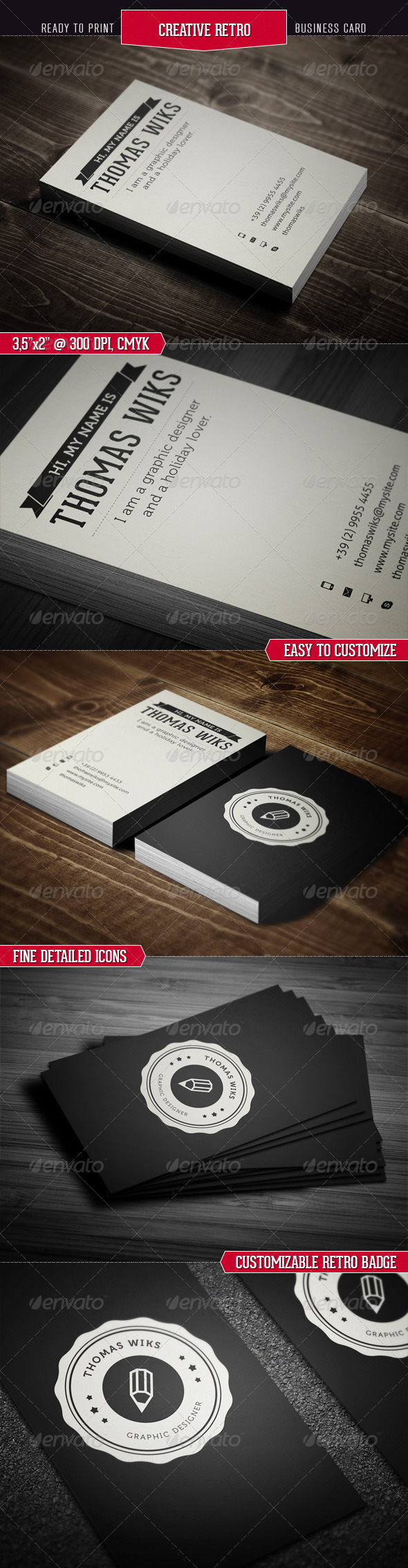 Creative Retro Business Card - Corporate Business Cards