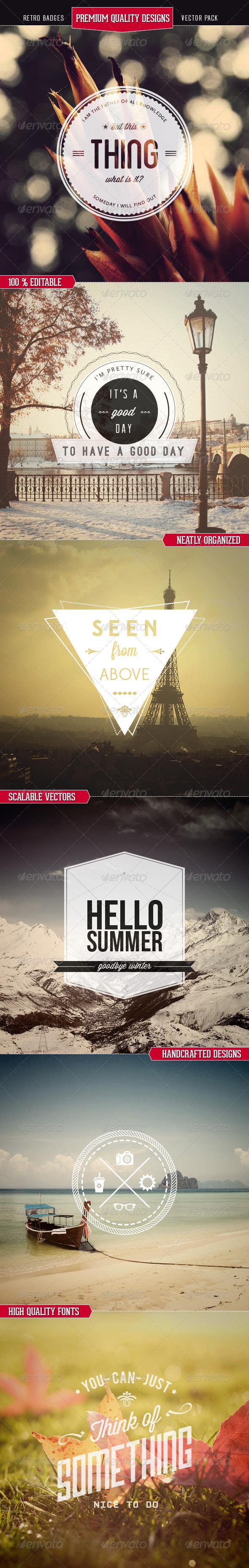 Premium Quality - Retro Badges Vectors - Vectors Design