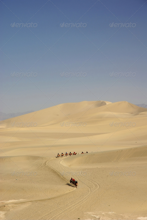 desert with blue sky,dunhuang,china - Stock Photo - Images